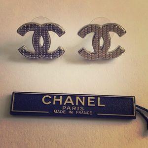 CHANEL Large Boucles D'Oriel Argent Logo Earrings